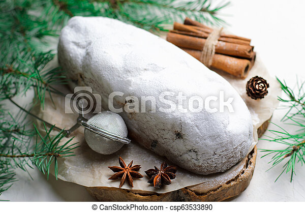 Christmas Stollen, Traditional Fruit Loaf Cake, Festive Dessert for Winter Holidays - csp63533890