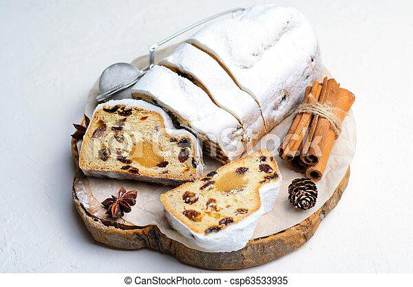 Christmas Stollen, Traditional Fruit Loaf Cake, Festive Dessert for Winter Holidays - csp63533935
