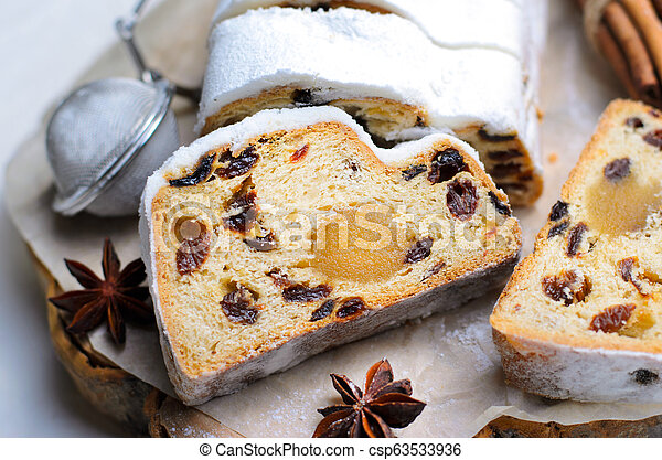 Christmas Stollen, Traditional Fruit Loaf Cake, Festive Dessert for Winter Holidays - csp63533936