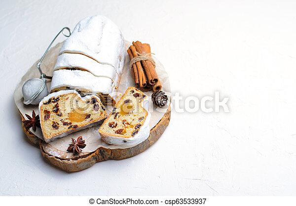 Christmas Stollen, Traditional Fruit Loaf Cake, Festive Dessert for Winter Holidays - csp63533937