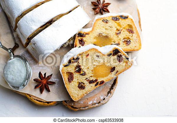 Christmas Stollen, Traditional Fruit Loaf Cake, Festive Dessert for Winter Holidays - csp63533938
