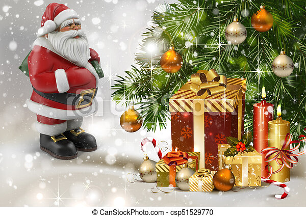 christmas story santa claus with gifts near the christmas tree 3 d rendering