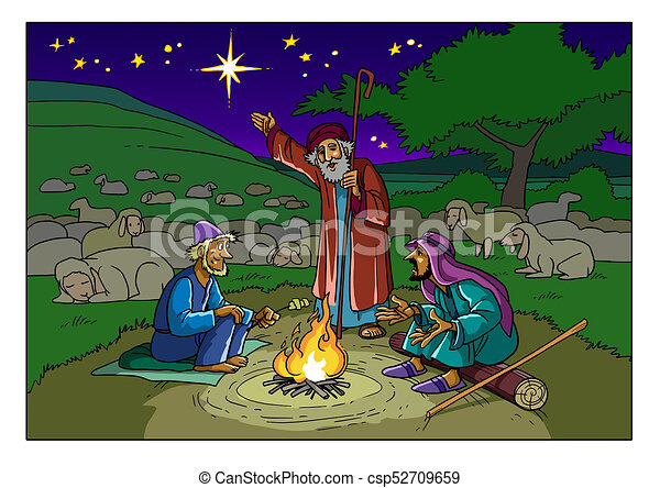 Christmas story. shepherds and a star. The shepherds on the field near bethlehem and the star ...
