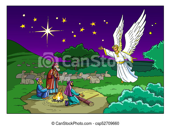 Christmas Shepherds.Christmas Story Shepherds And The Angel