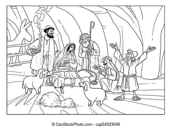 Christmas Stable Drawing.Christmas Story Shepherds With Joseph Mary And Baby Jesus