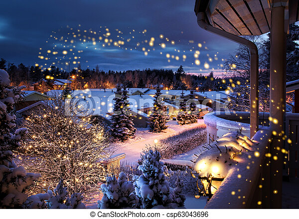 Snowy Christmas.Christmas Street Snowy Winter Scenery