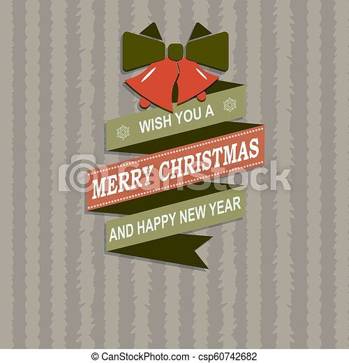 Christmas striped card with silhouette of ribbon, bow and two bells. - csp60742682