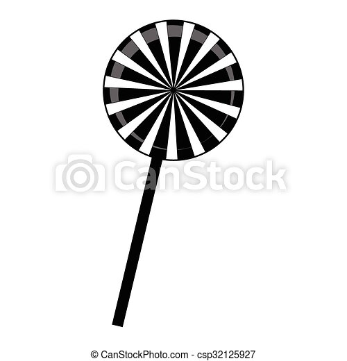 christmas striped lollipop silhouette spiral sweet candy with black