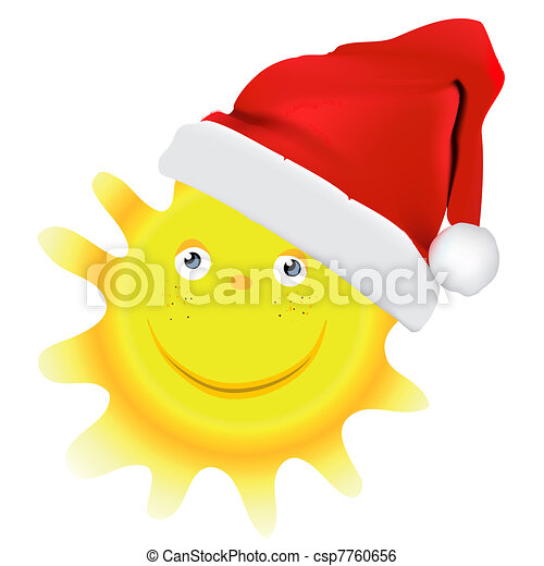 Christmas sun vector design. cartoon drawing