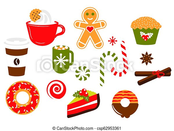 Christmas Illustrations Clip Art.Christmas Sweets Candy Vector Illustration Clipart Set