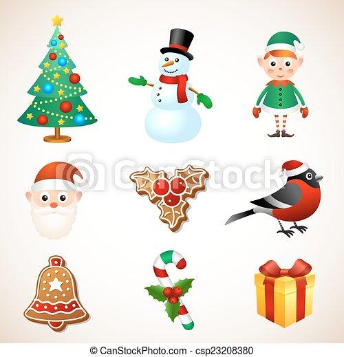 Christmas Symbol Set Christmas Holiday Symbol Object Character Sign
