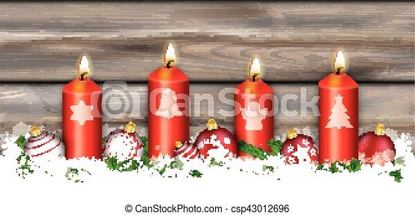 Christmas Header Clipart.Christmas Symbols 4 Candles Header Card Worn Wood