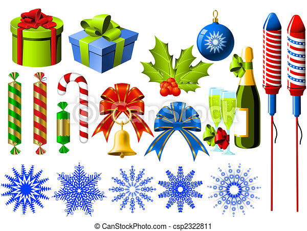 Christmas Symbols Group Of Christmas And New Year Symbols