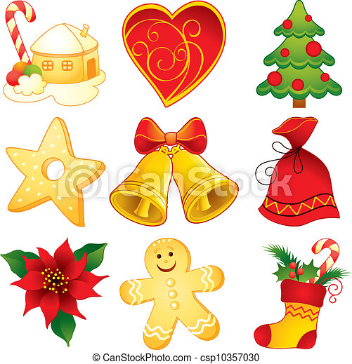 Decorative Christmas Symbols Vectors Search Clip Art Illustration