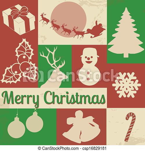 Christmas Symbols On Retro Poster Vector Collection Of Vintage