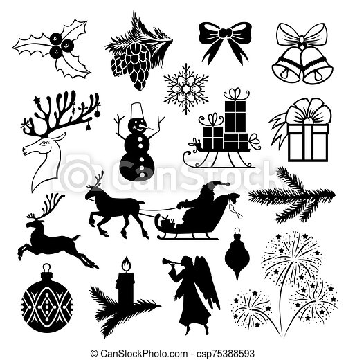Christmas symbols set - csp75388593