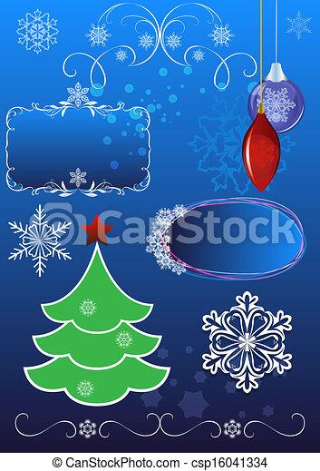 Christmas symbols vector set isolated on blue background. - csp16041334