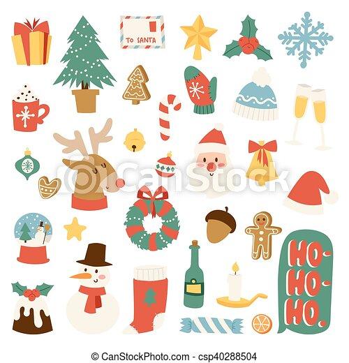 Christmas Symbols Vector Set Christmas Greeting Card Symbols Vector