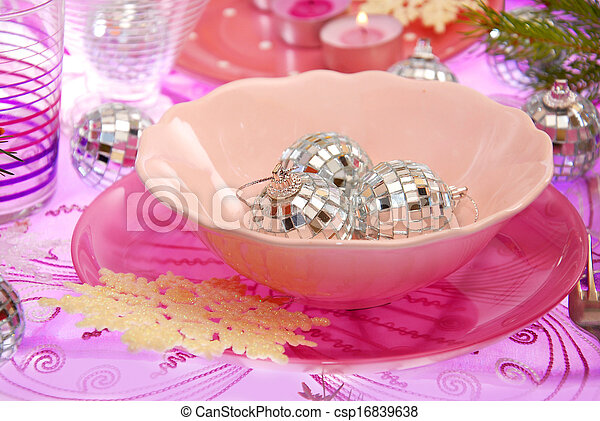 christmas table setting in pink  - csp16839638