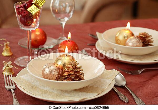 Christmas table setting  - csp0824655