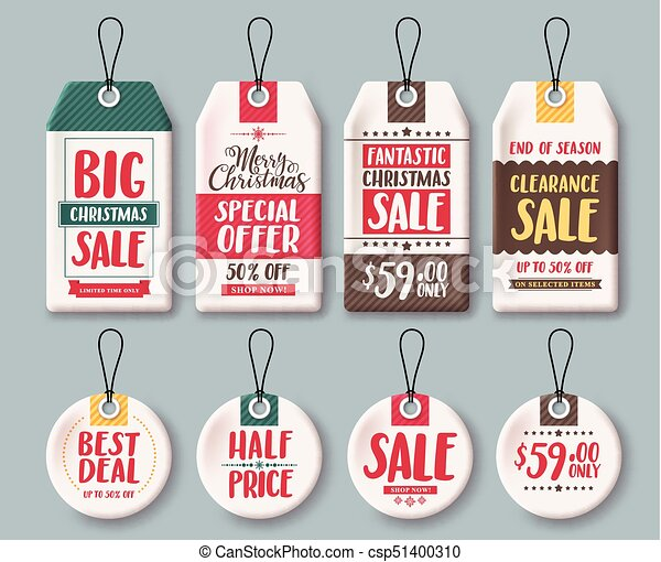 Christmas Tag Template.Christmas Tags Vector Template Set And Price Tags In White Paper With Sale