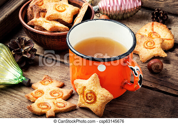 Christmas tea with cookie - csp63145676