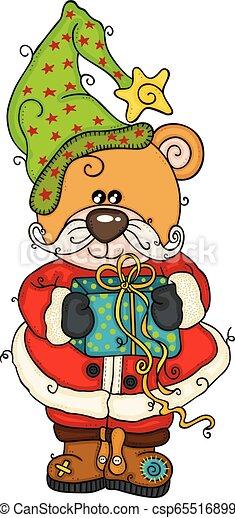 Christmas teddy bear with gift - csp65516899