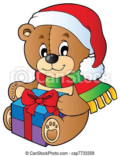 Christmas teddy bear with gift - csp7733358
