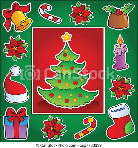 Christmas theme greeting card 1 - csp7733339