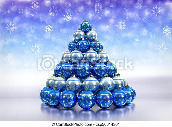 Christmas Theme With Blue A Silver Xmas Bulbs 3d Render Christmas