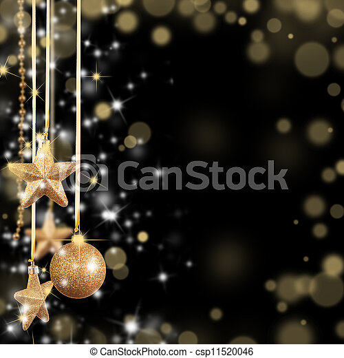 Christmas theme with golden glass stars and free space for text - csp11520046