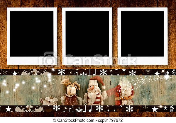 Christmas  three empty photo frames - csp31797672