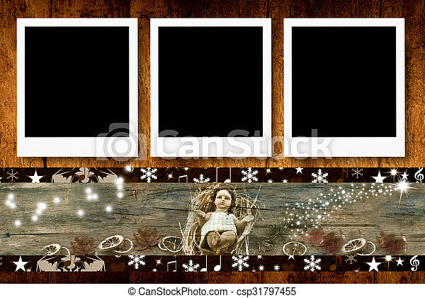 Christmas three empty photo frames - csp31797455