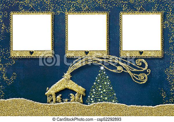 Christmas three photo frames card. - csp52292893