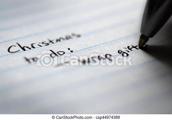christmas to do list written on notebook for organization csp44974389