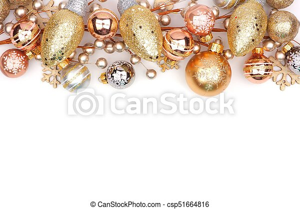 Christmas Top Border.Christmas Top Border Of Gold Ornaments Isolated On White