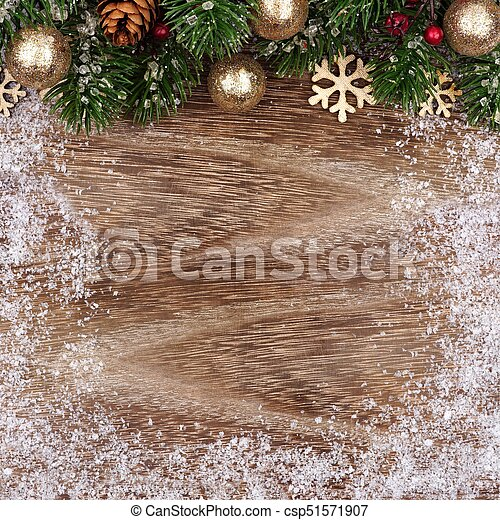 Christmas Top Border.Christmas Top Border With Gold Ornaments Branches On Wood