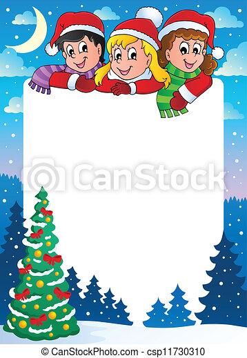 Christmas topic frame 3 - csp11730310