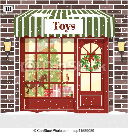 Christmas Toy Shop Store Building Facade