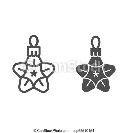 Christmas toy star line and glyph icon. Tree toy vector illustration isolated on white. Xmas decoration outline style design, designed for web and app. Eps 10. - csp68510154