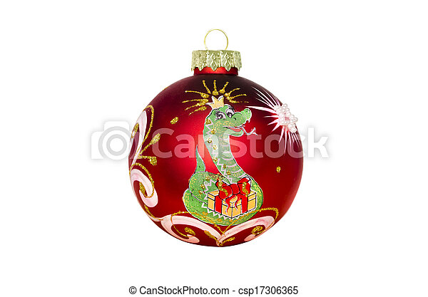 Christmas toy with the image of a snake on a white background - csp17306365