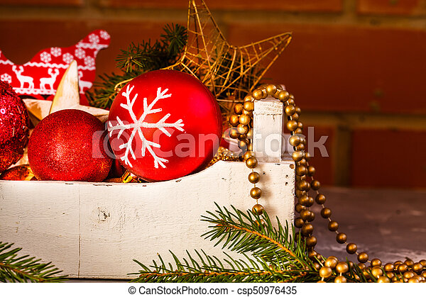 christmas decorations christmas toys in a wooden box - Wooden Box Christmas Decorations