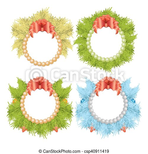 Christmas Traditional Holly Wreaths Set