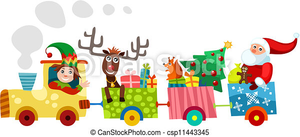 vector illustration of a christmas train rh canstockphoto com Christmas Toy Train Christmas Toy Train