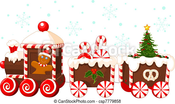 christmas train christmas train made of gingerbread cream and candies rh canstockphoto com Christmas Train Clip Art Black and White Christmas Train Set