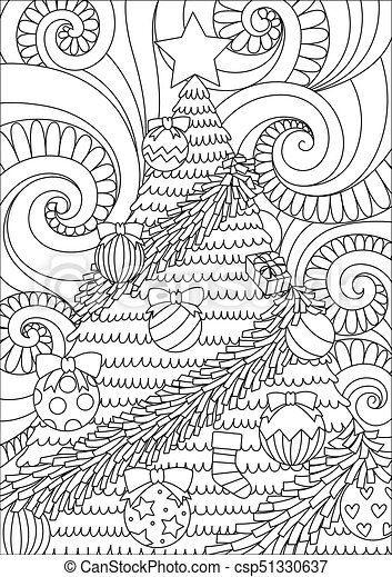 Christmas Tree 2017 Line Art Design Of Storm Scrolling And Christmas Tree For Print Design And Adult Coloring Book Page