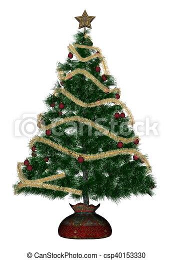 Christmas Tree White Background.Christmas Tree 3d Render