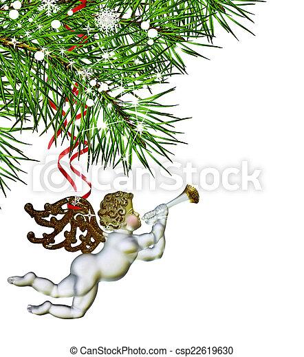 Christmas Tree and Angel - csp22619630