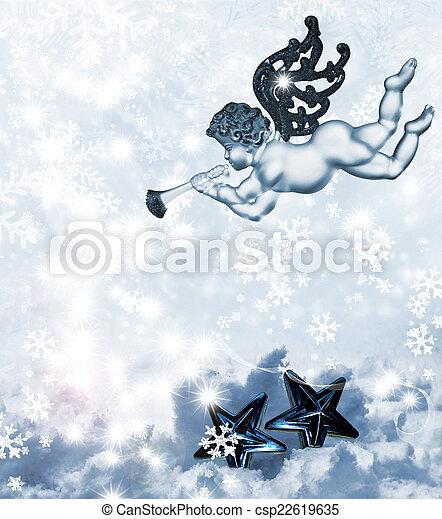 Christmas Tree and Angel - csp22619635