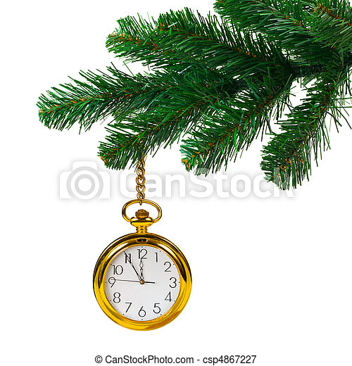 Christmas tree and clock isolated on white background.
